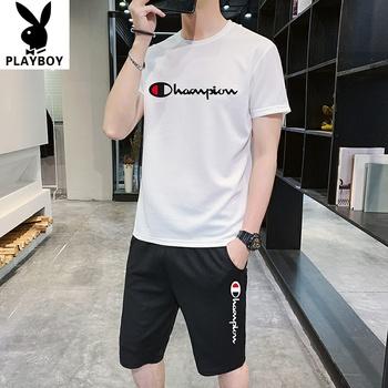 夏季短袖t恤男士潮牌2020运动上衣一套帅气短袖套装男潮流