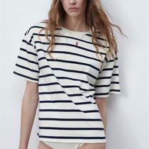 西班牙单 欧美女装 棉质百搭青春时尚条纹加大码 T 恤00858072066
