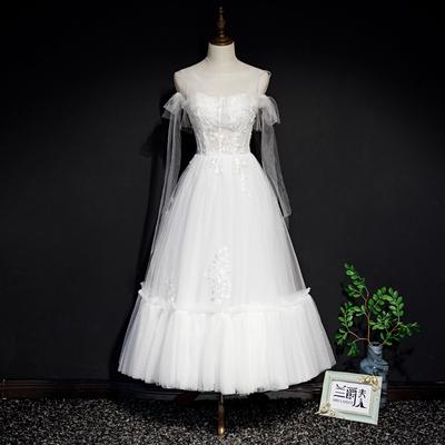 White go out yarn Korean banquet evening dress skirt bride photo shoot Sen series super fairy dream light wedding annual party