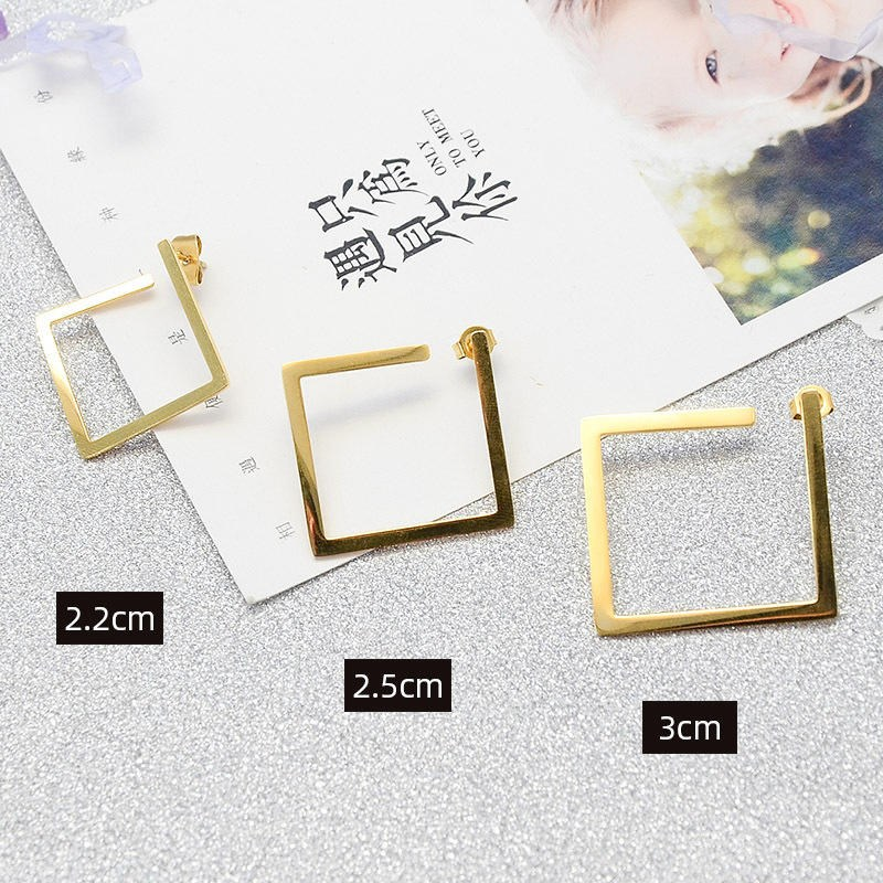 Korean new earrings geometric style titanium steel plated earrings with three layers of F genuine gold without Earrings inlaid in the furnace
