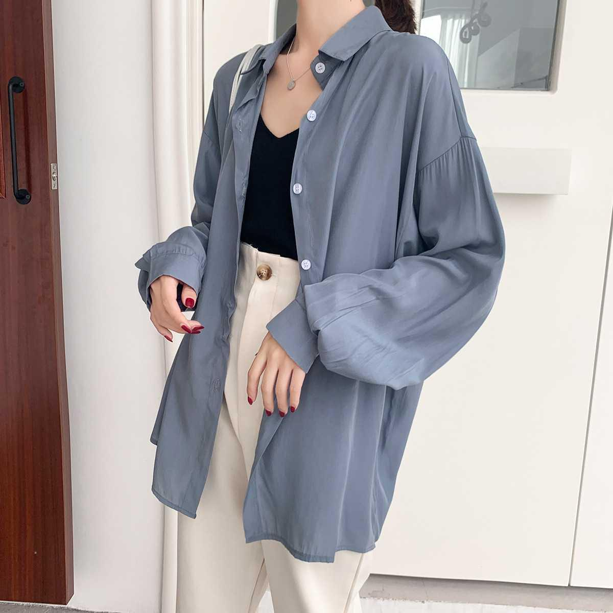 Loose design sense small top lazy wind coat 2020 spring silk satin shirt womens European bulk shirt