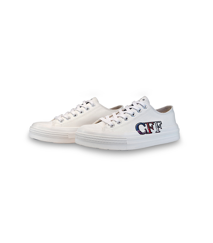 Spring and summer new style art couple letter printing pattern [CFF] low top small white shoes leisure canvas