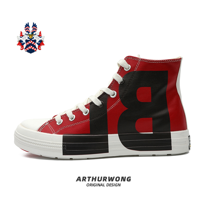 Arthur Wong national fashion canvas shoes BL black letter printing heaven and earth two trigrams bottom red shoes spring and summer fashion Gao Bangnan