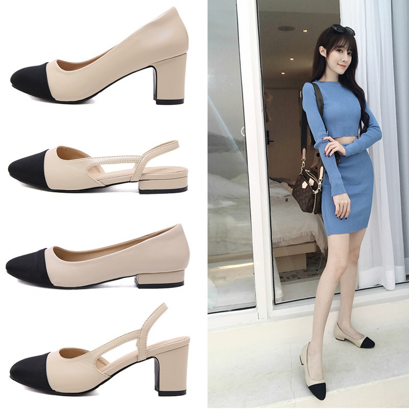 2021 new Xiaoxiang sandals xiaoxiangfeng single shoes color matching sandals women's high heels Baotou sandals women's thick heel small size