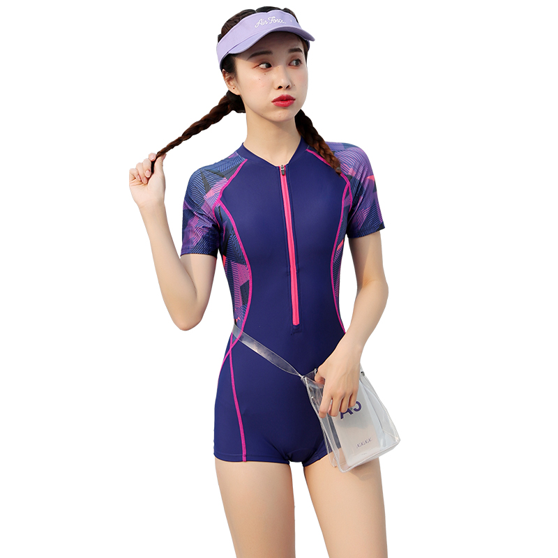 Swimsuit female cover belly show thin conservative conjoined student tight swimsuit flat angle professional sports fat mm large swimming female