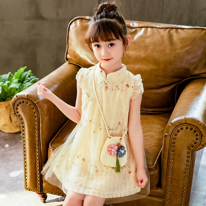 女童旗袍裙子中国风大童公主裙儿童装汉服夏季2020新款连衣裙洋气
