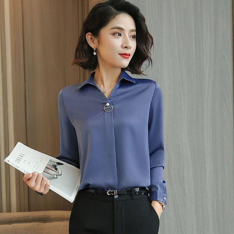 Shirt womens design sense minority spring clothes 2020 new high end Satin professional silk shirt womens silk shirt