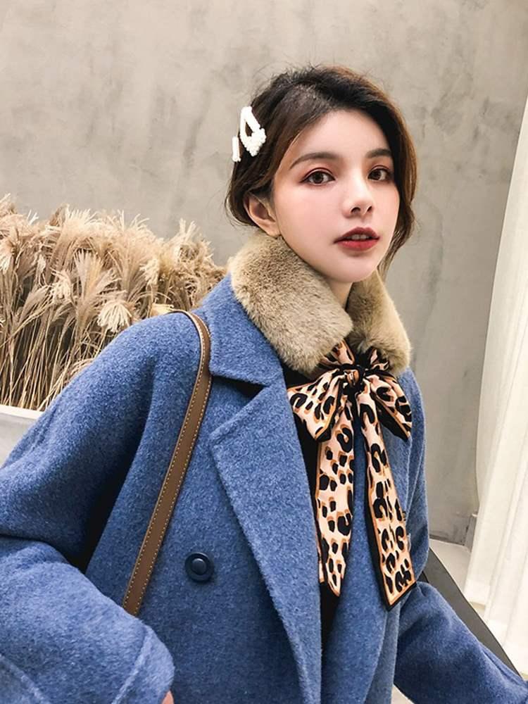 毛领围脖女毛领子韩版百搭豹纹蝴蝶结拼接仿兔毛飘带毛毛围巾冬季