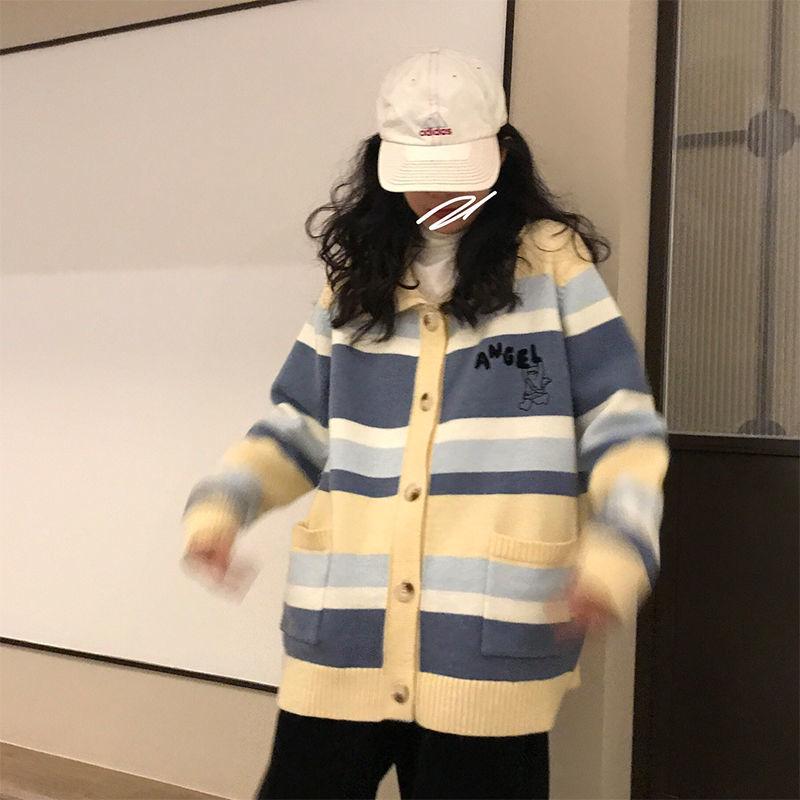 韩版秋冬新款方领宽松条纹口袋开衫毛衣女学生学院风百搭针织外套