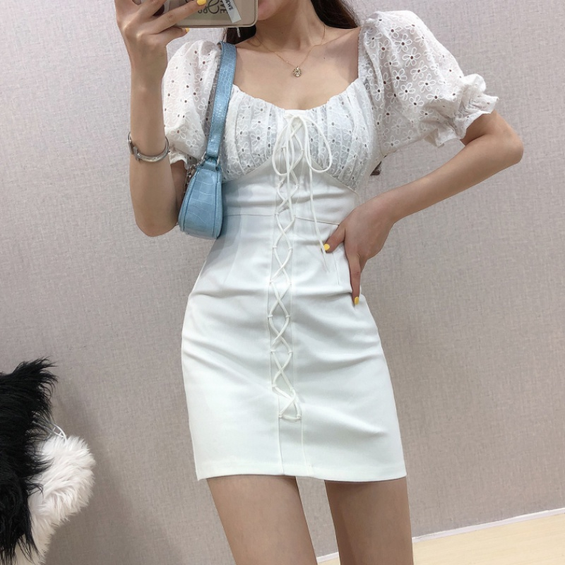 Flower cut out lace stitching bubble sleeve French Hip Wrap short skirt women 2020 new slim dress summer