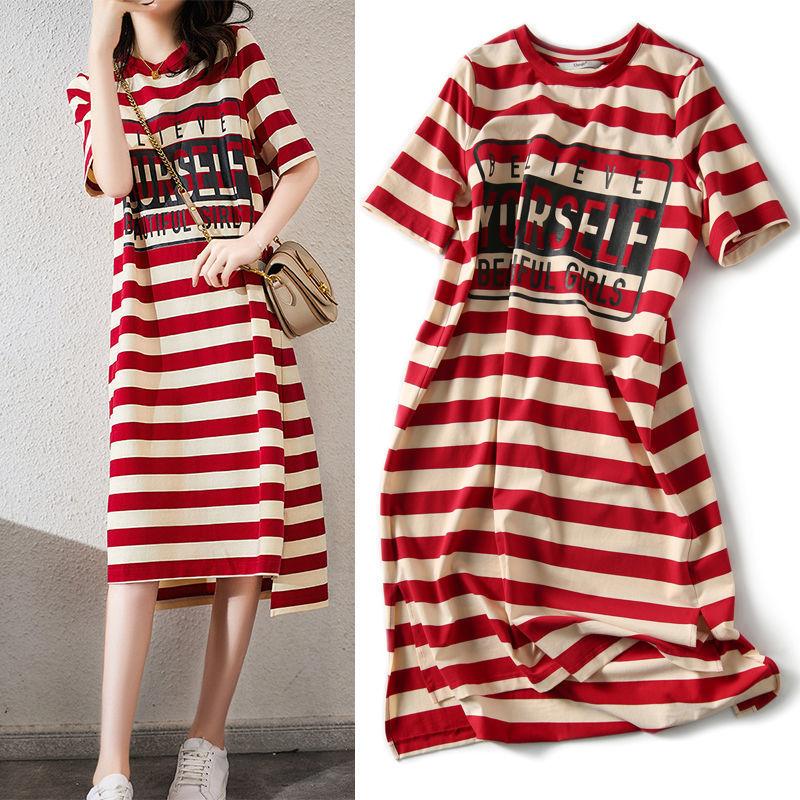 Summer loose show thin stripe print T-shirt dress womens Student Korean medium long womens cotton