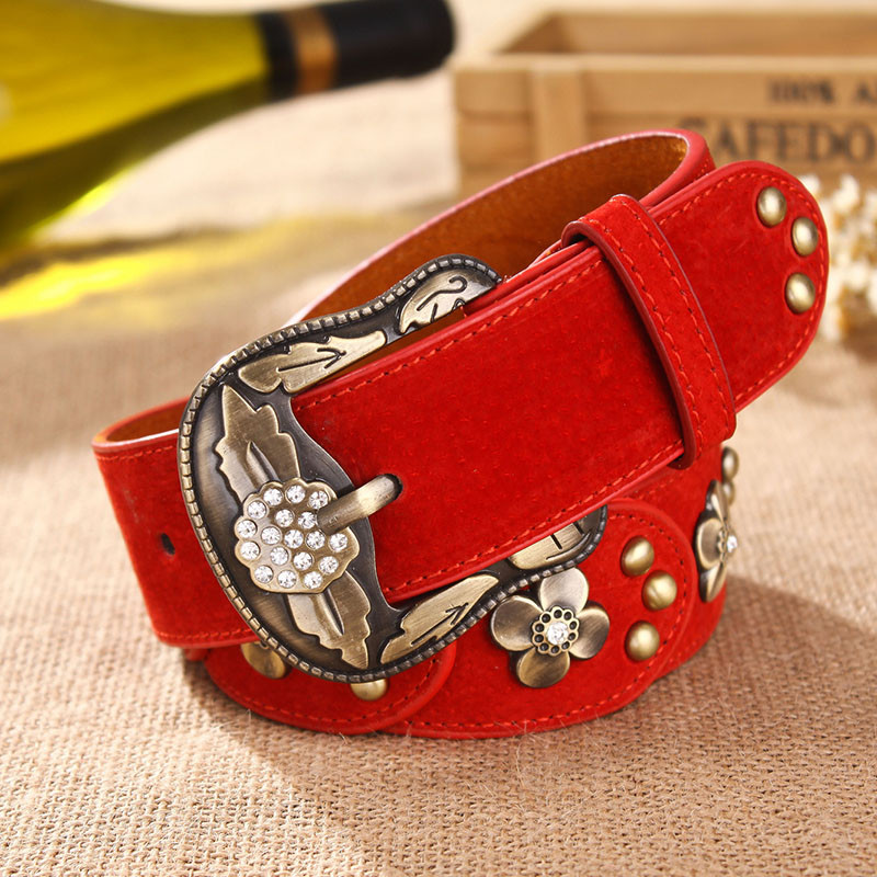 Cold weapon Korean retro womens leather belt with water drill inlaid with female rivet belt and widened Jeans Belt