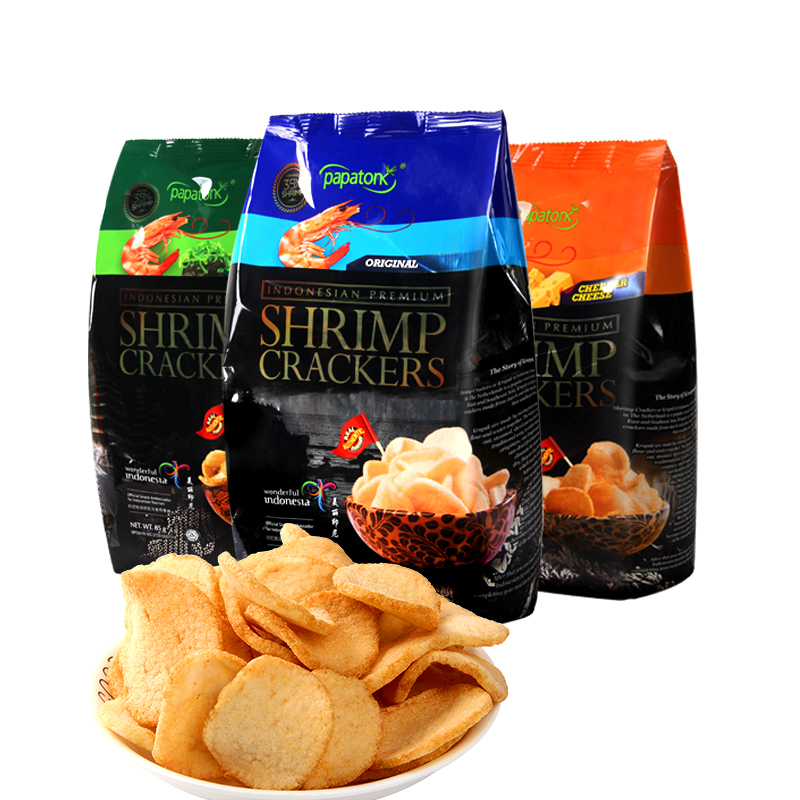 Live recommendation of Indonesia imported fresh shrimp slices 85g * 6 packs of puffed snacks potato chips shrimp slices net red snacks