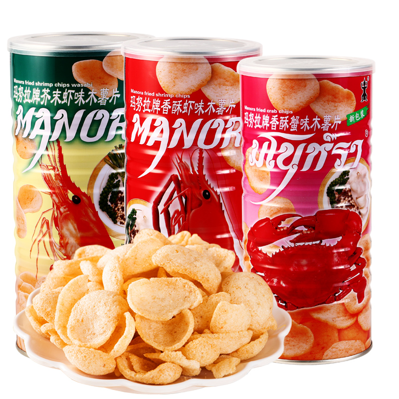 Imported Manora shrimp chips, potato chips and Thai crab slices are recommended for live broadcast