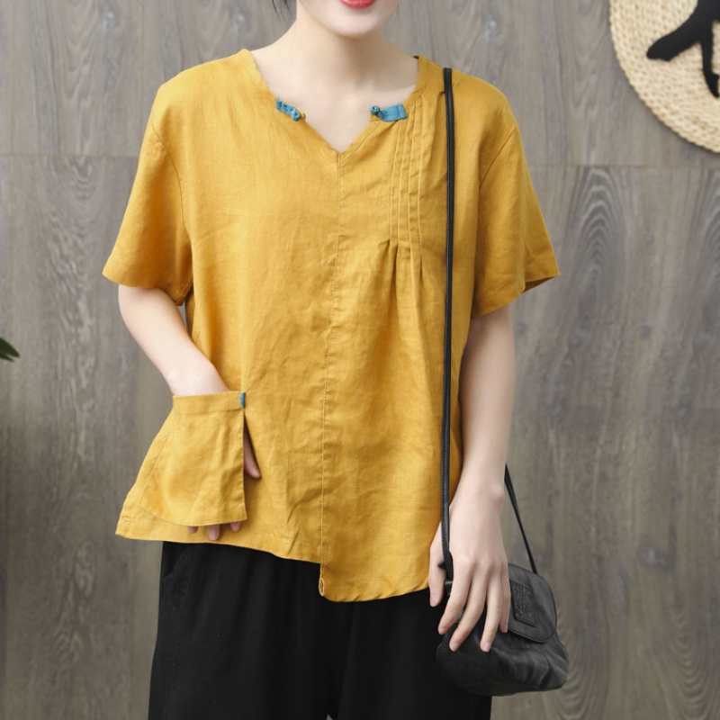 RETRO art loose V-neck short sleeve T-shirt summer new casual casual linen breathable womens top