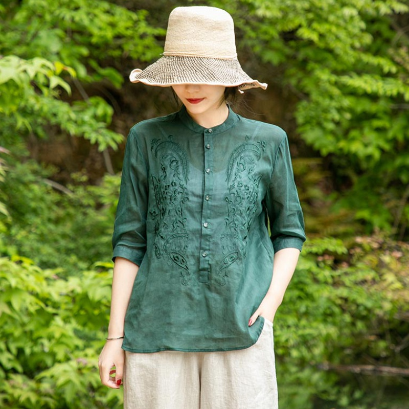 Summer retro pure color ramie embroidered shirt womens loose stand collar mid sleeve versatile Shirt Top 2020 new women