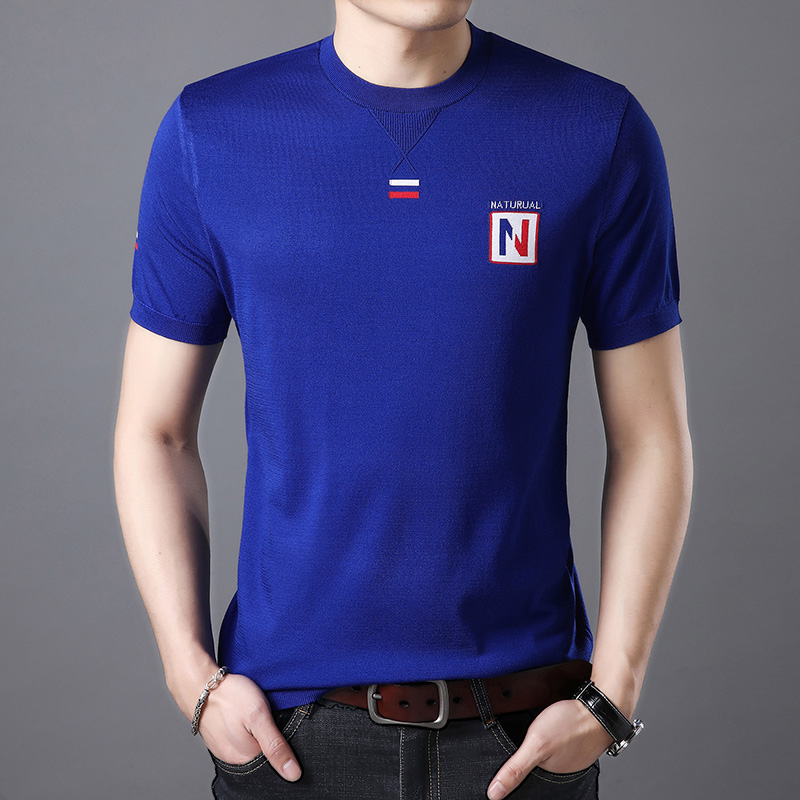 Mens summer polo shirt mercerized cotton solid color middle aged and elderly dad summer short sleeve T-shirt with loose Lapel 40-50 years old