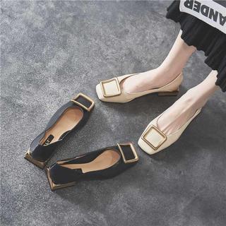 2020年夏季女鞋新款高跟鞋中跟粗跟鞋子浅口豆豆仙女单鞋温柔瓢鞋