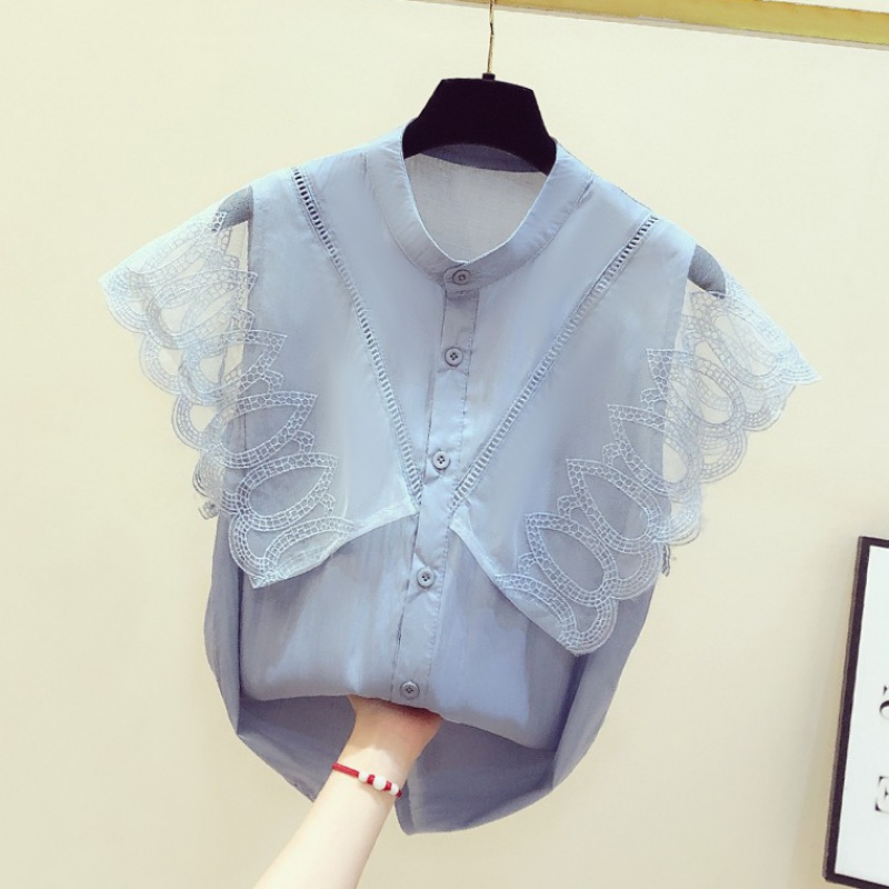 Summer fashion temperament Chiffon Shirt Short Sleeve 2020 summer new womens wear foreign style lace splicing top fashion