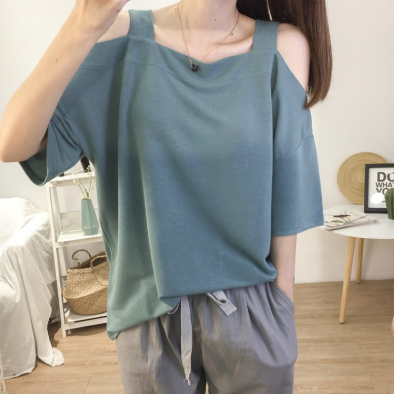 Summer Korean version simple loose off shoulder short sleeve T-shirt with one word collar womens large solid color ice silk top bottoming fashion