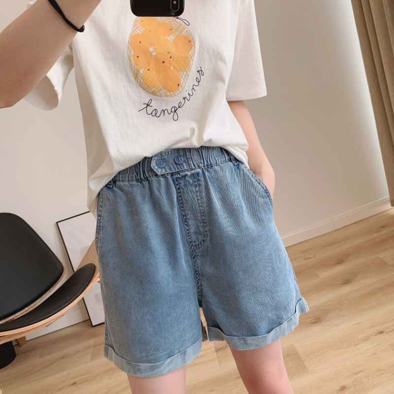 Ultra thin soft twill Tencel denim shorts in summer 2020 womens double button elastic waist with loose curling edge