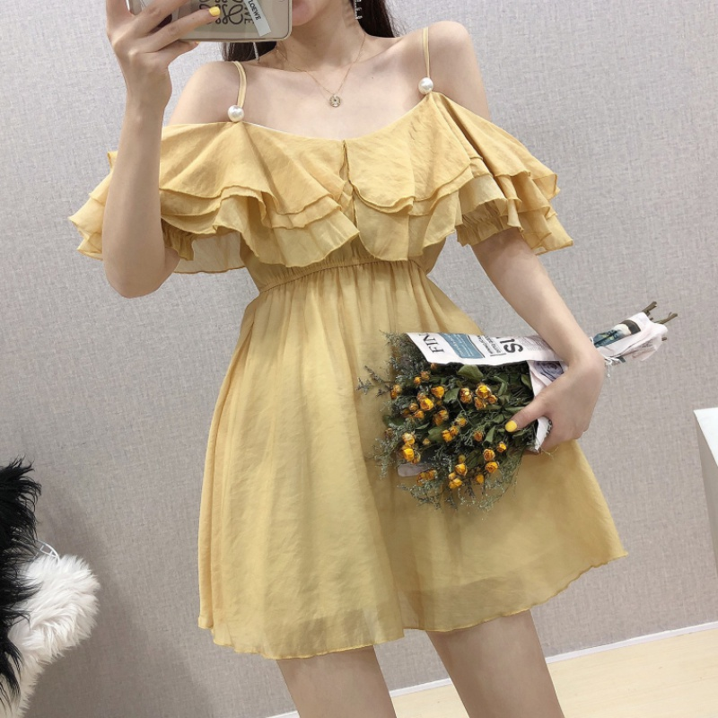 Layer by layer Ruffle chiffon dress for women summer 2020 new type belly covering small off shoulder strap A-line skirt