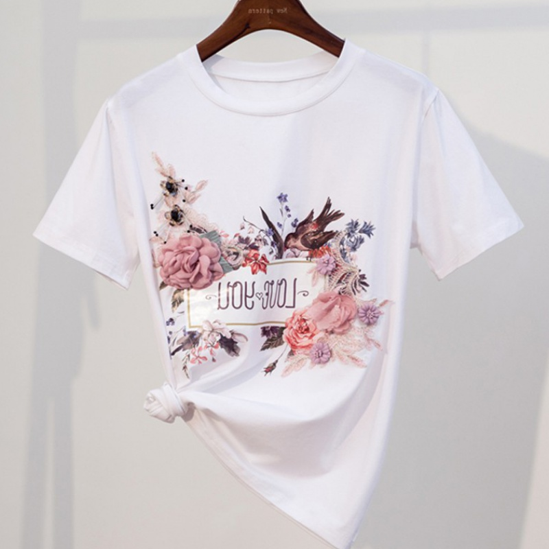 Pure cotton white T-shirt women summer short sleeve 2020 new Korean fashion loose net Red Flower Embroidered Jacket