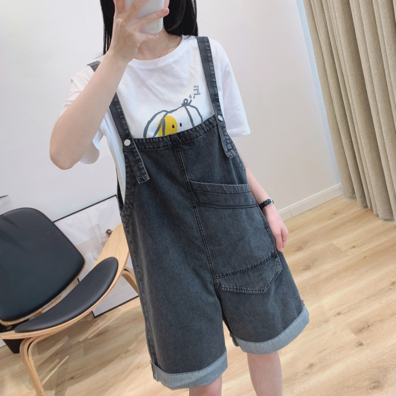 Wide leg jeans with cuffed pants on both sides womens summer loose casual large pocket washing work clothes one piece pants fashion
