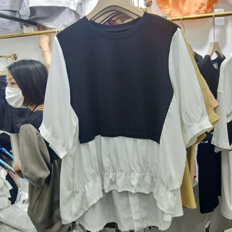 Fake two shirt womens new loose short shirt short sleeve thin color matching top