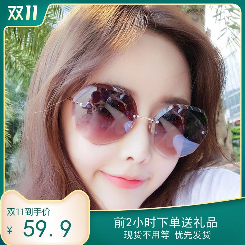 Camellia flower small fragrance sunglasses 2020 new fashion womens net red gradual fashion sunglasses round face big face looks thin
