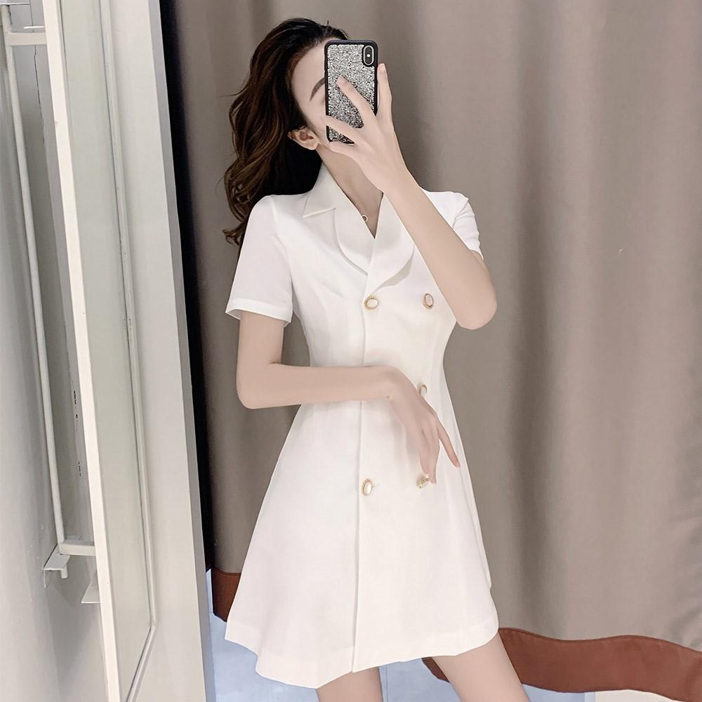 Spring and autumn 2020 new super fairy temperament waistband design sense small double breasted white suit dress summer
