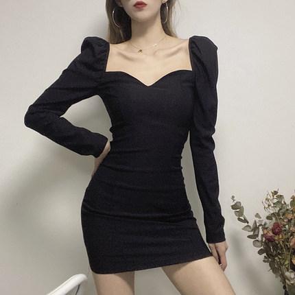 欧美风泡泡长袖宫廷风连衣裙女气质设计感小众复古收腰包臀短裙夏