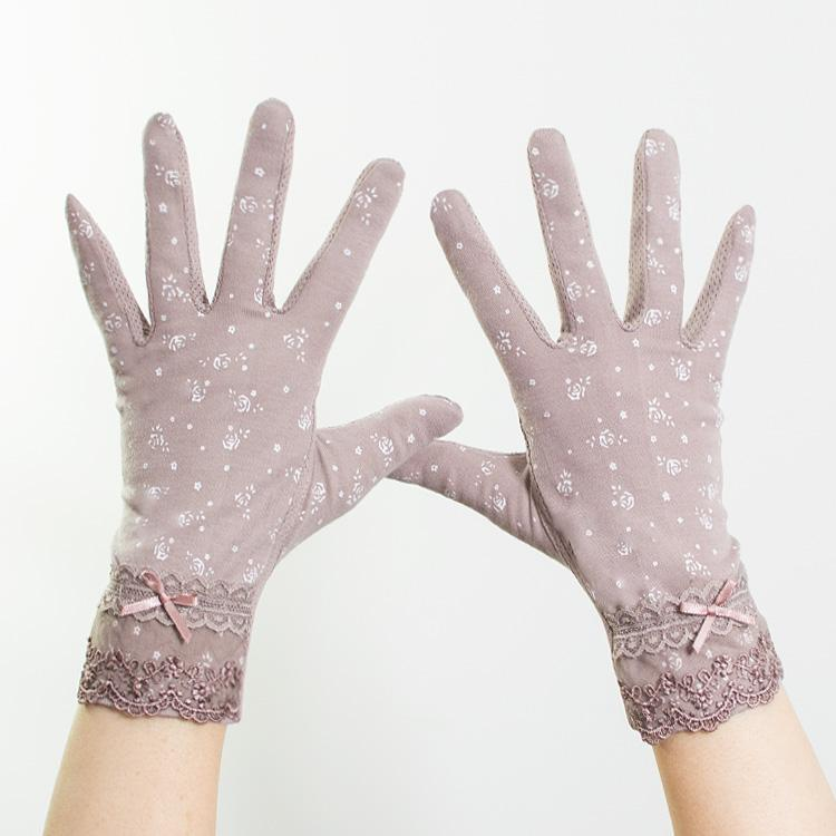 Sun proof gloves female protection summer spring and autumn cycling and driving antiskid long and short cotton lace thin UV outdoor