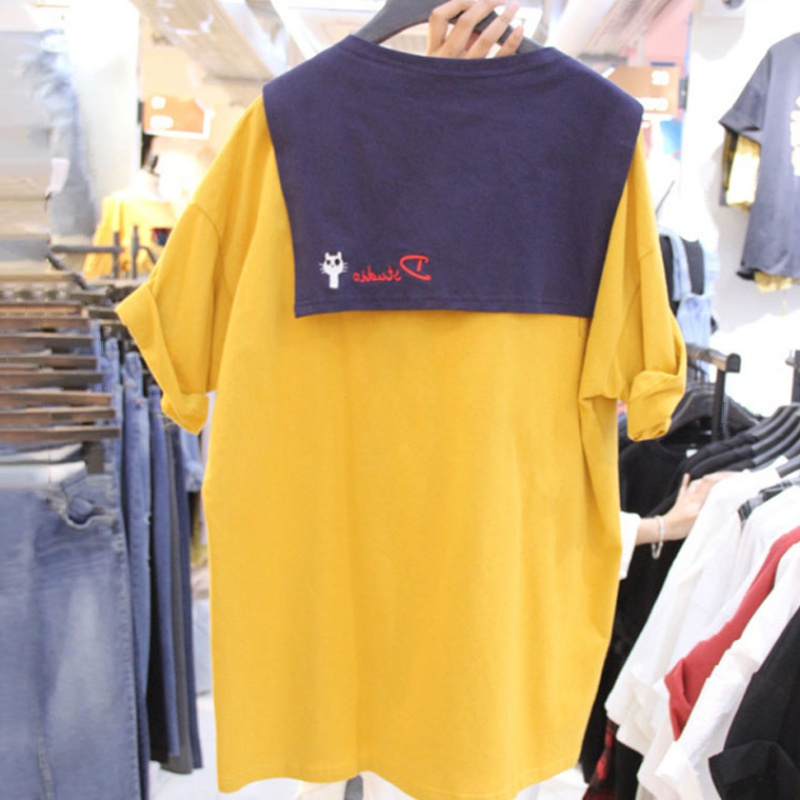 Summer 2020 fake two piece shawl Navy collar letter embroidered short sleeve T-shirt womens middle long loose student top