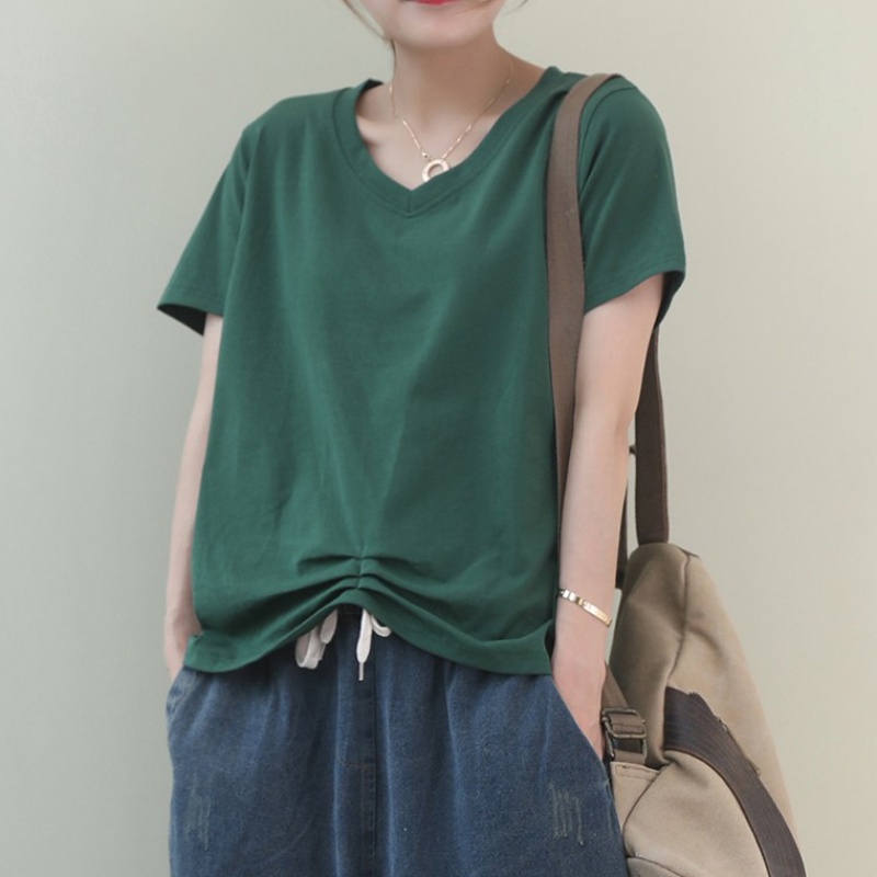 Summer 2020 new Korean loose large literary hem pleated versatile short sleeve T-shirt womens top