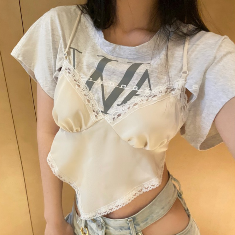 Fake two pieces of irregular design gather show chest short sleeve T-shirt women summer 2020 new waist slim fitting suspender top