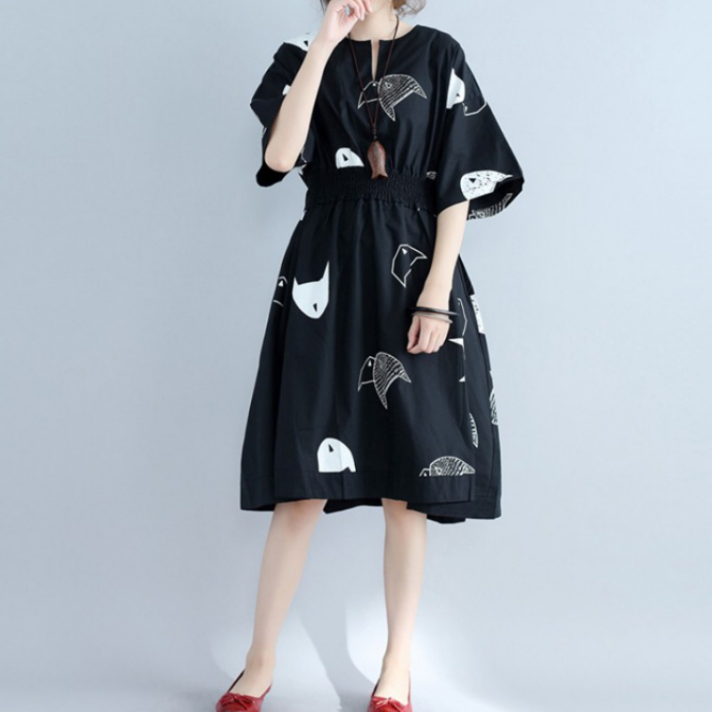 Large womens dress summer literature and art elastic waist small fish print skirt with waistline showing thin covering meat short sleeve cotton linen dress
