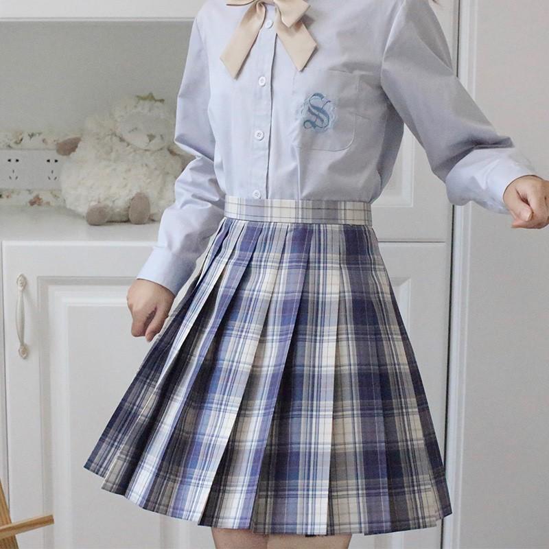 【法治】原创蓝白格裙 百褶裙 JK制服裙  包邮 现货  魔力风车 jk