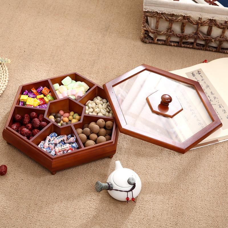 实木新款中式分格带盖干果坚果盒家居瓜子糖果木质果盘果篮创意