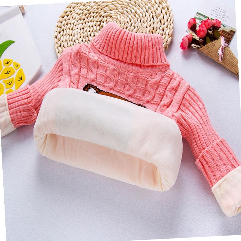 【全身加绒】宝宝毛衣童装儿童高低领女童毛衣男童打底保暖针织衫