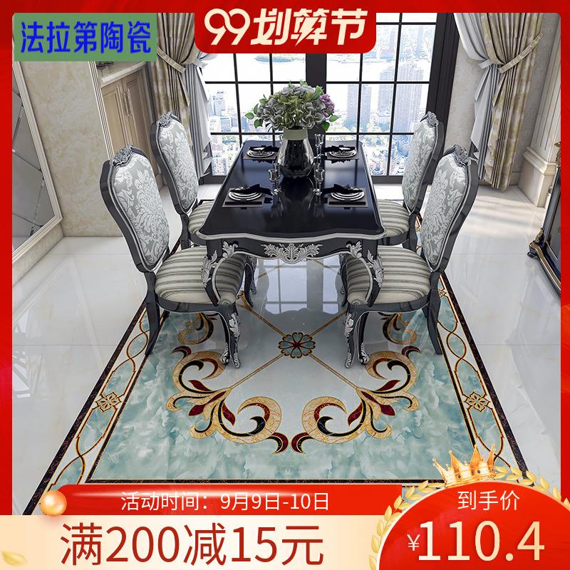 客厅拼花瓷砖餐厅走廊过道入户门厅玄关地砖微晶石拼花图案k金砖
