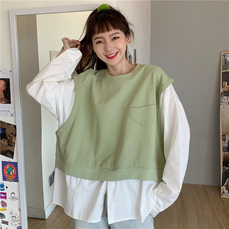 Net red fake two piece stitched pocket sweater autumn 2020 Korean loose lazy student Hong Kong Style Long Sleeve Shirt woman
