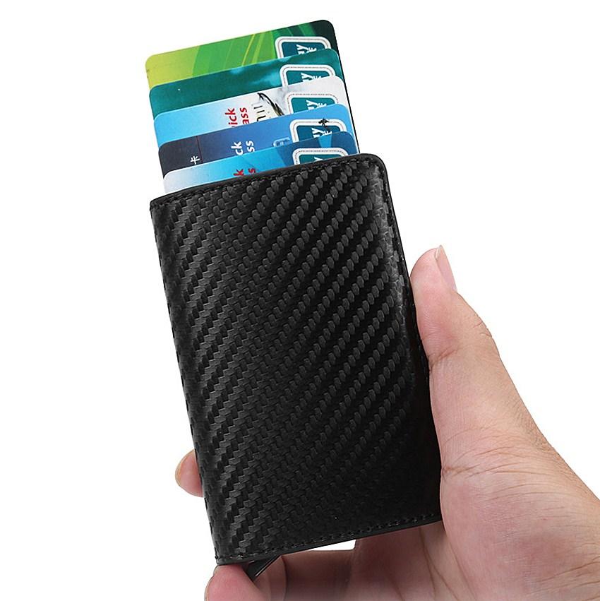 极自动皮革卡盒创意金属铝合金卡包防盗刷信用卡夹超薄新款小钱包