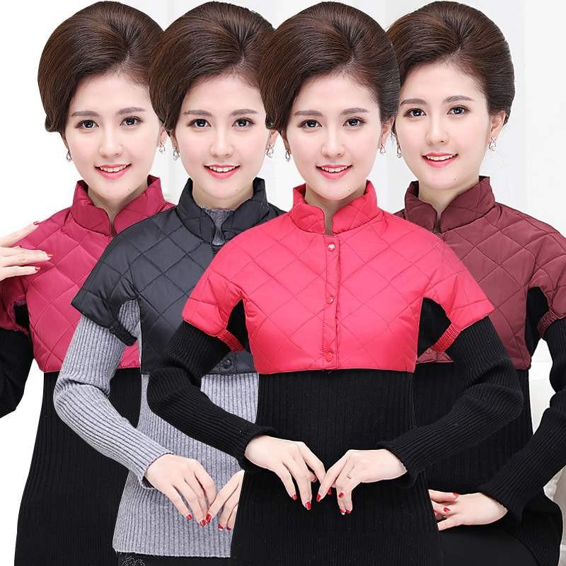 立领超短棉背心内衣服40岁到50岁中年妈妈冬天内穿护肩不显胖马加