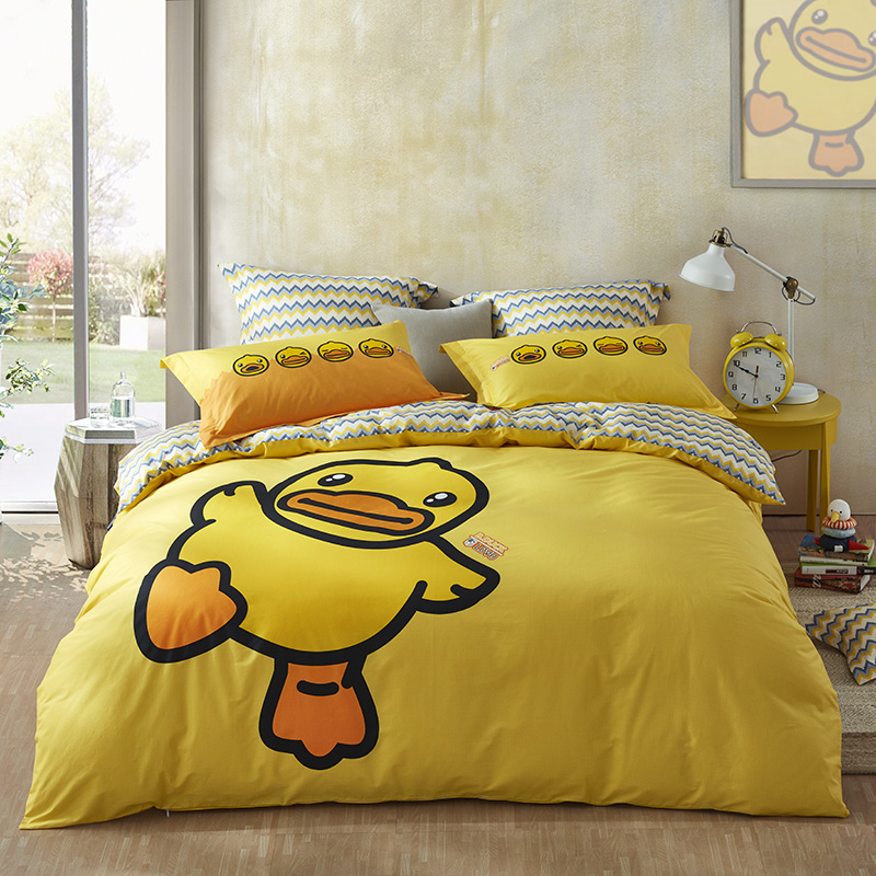 Lovo lecolo produce ducklings all cotton four piece set special price pure cotton cartoon quilt cover dormitory