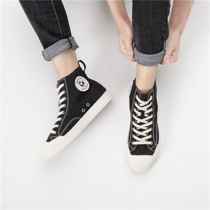 Shoes womens new spring and summer canvas shoes breathable students girls leisure high top flat shoes mens shoes trend