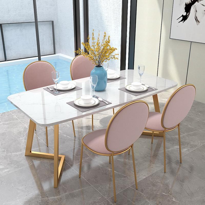北欧风大理石餐桌家用小户型轻奢餐桌椅组合后现代简约长方形饭桌