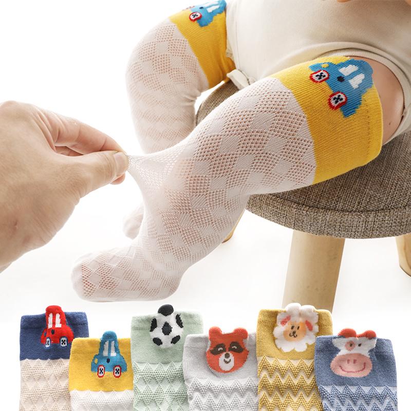 宝宝防蚊袜婴儿袜子夏季超薄款长筒网眼卡通过膝新生儿棉无骨松口
