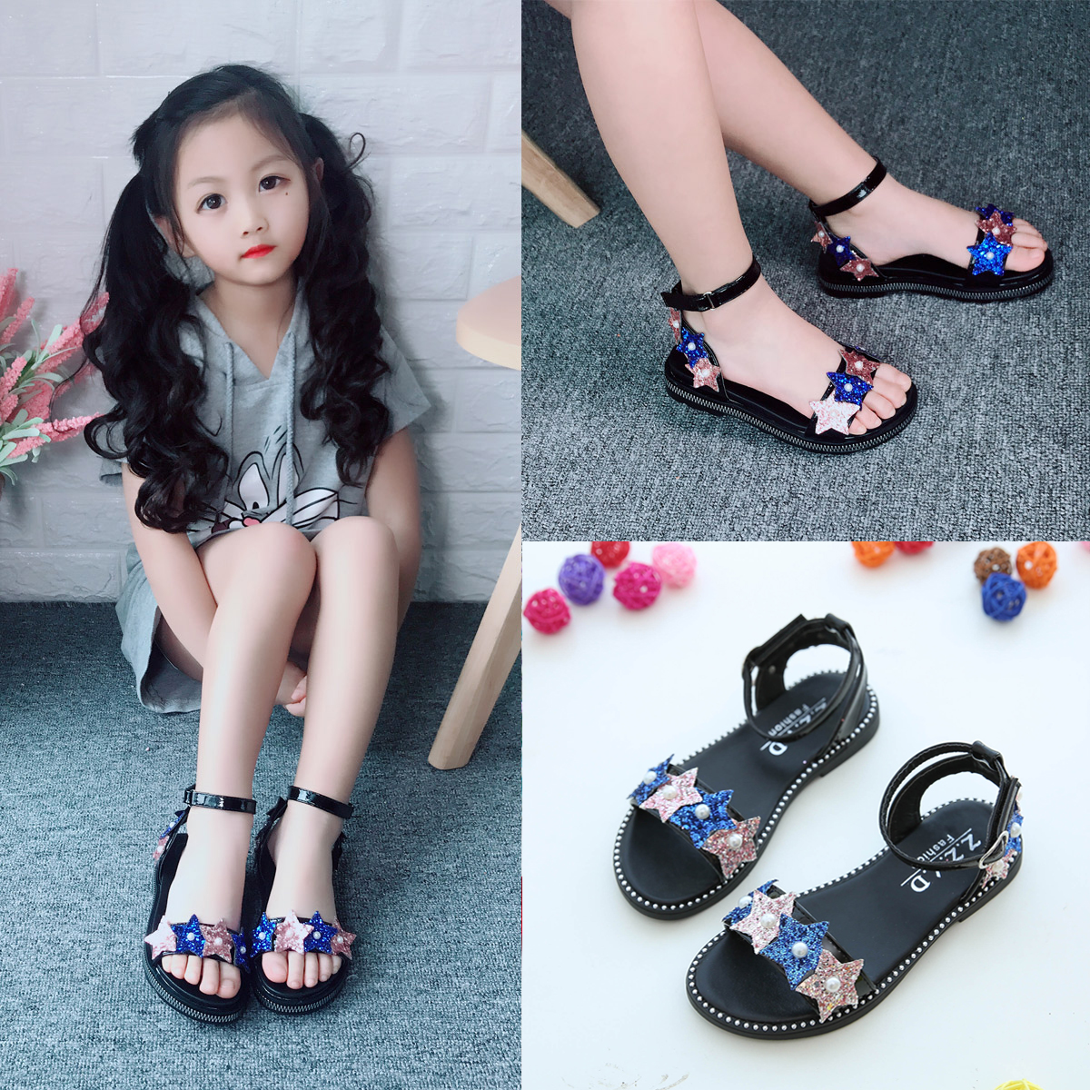 女童凉鞋2020夏季新款儿童韩版中大童凉鞋女小女孩公主平底凉鞋