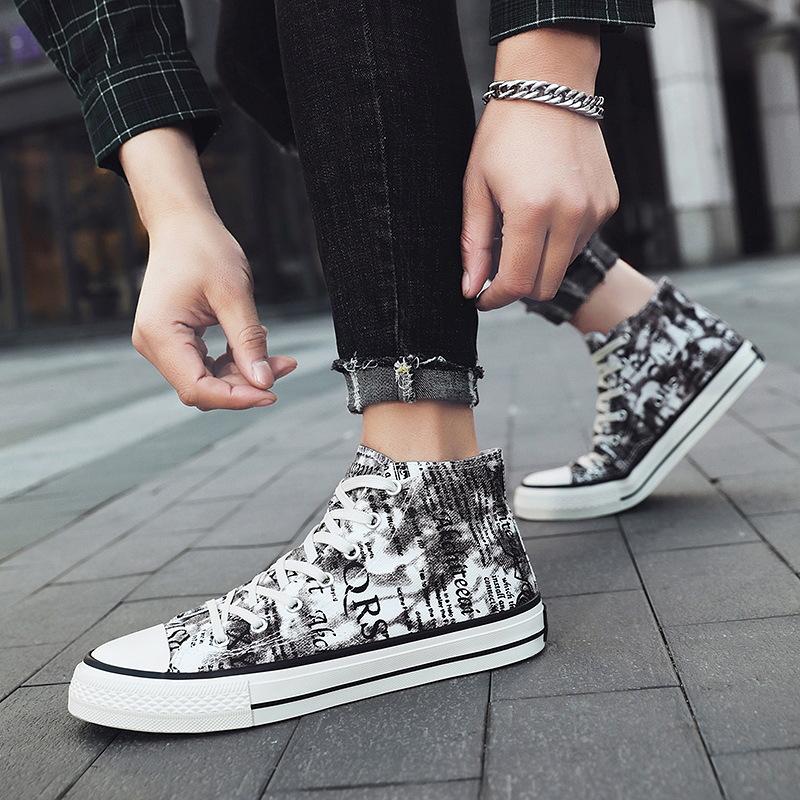 2020春季新款男士帆布鞋韩版个性印花板鞋百搭高低帮潮流鞋子6293